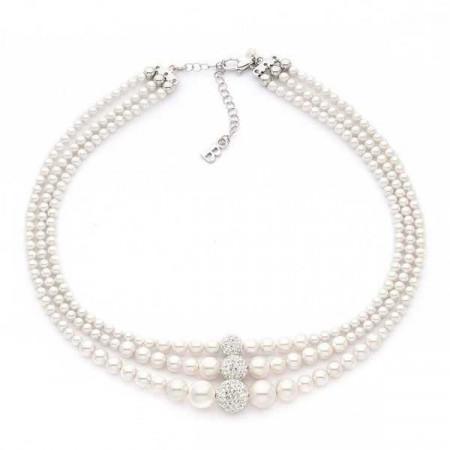 Girocollo in argento con triplo filo di perle e strass centrali