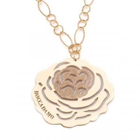 Collana in argento dorato con pendente a forma di camelia