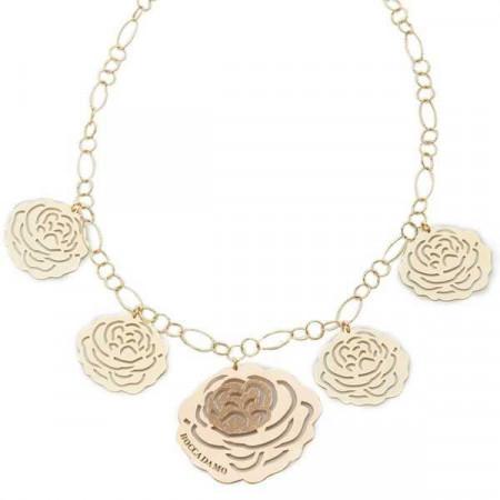 Collana in argento dorato con pendenti a forma di camelia