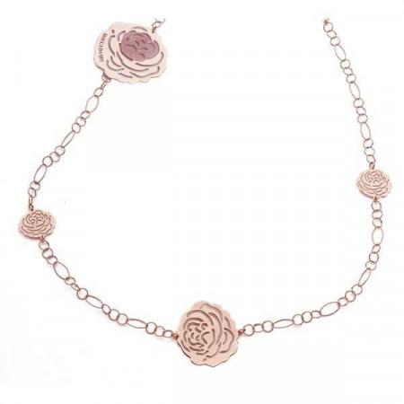 Collana lunga in argento rosato con pendenti a forma di camelia