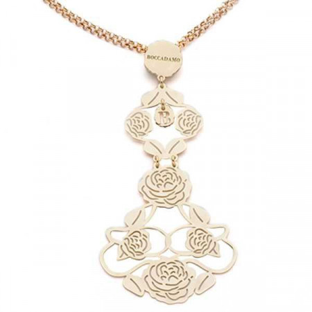 Collana in argento dorata con lungo pendente di camelie