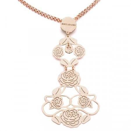 Collana in argento rosato con lungo pendente di camelie