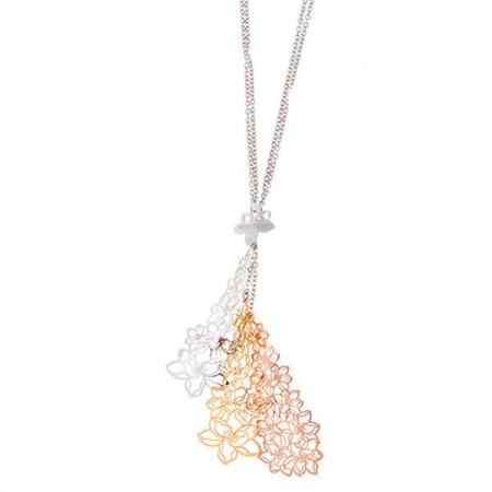 Collana in argento con tre pendenti dal traforo floreale