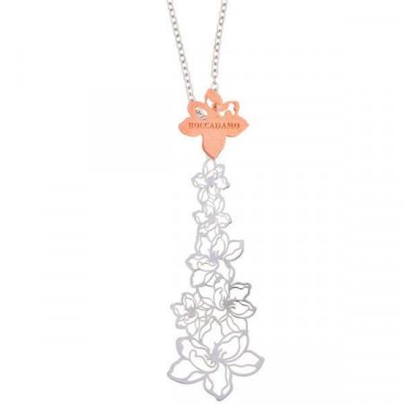 Collana in argento con ricco motivo floreale centrale