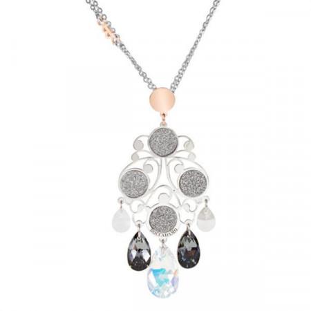 Collana in argento bicolor e Swarovski