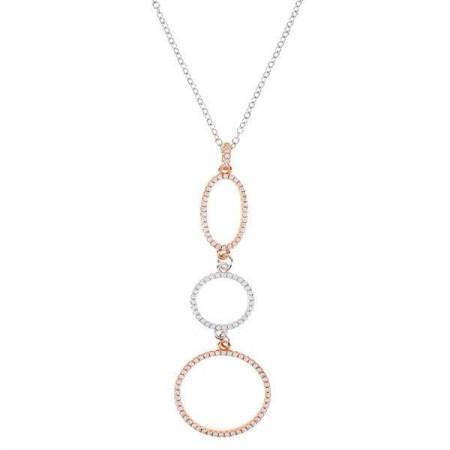 Collana in argento con pendente di orbite ovali e circolari e zirconi