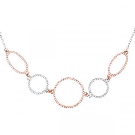 Collana in argento con orbite ovali e circolari e zirconi