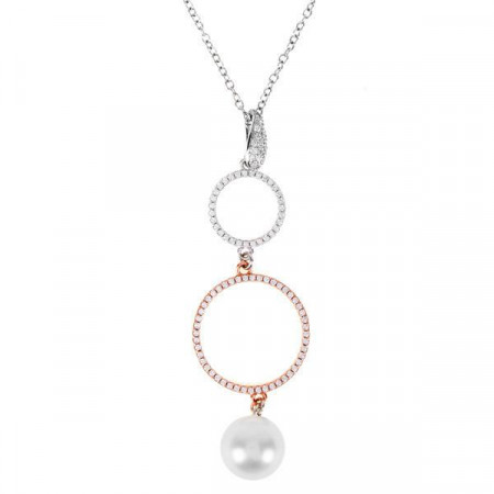 Collana in argento, zirconi e perla Swarovski