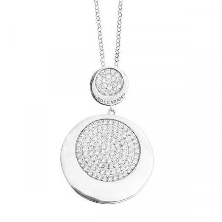 Collana in argento con superficie di zirconi