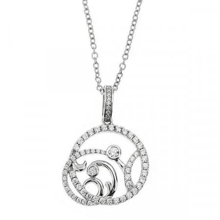 Collana in argento con pendente traforato e zirconi