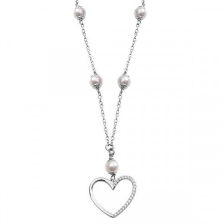 Collana in argento con perle Swarovski e cuore di zirconi