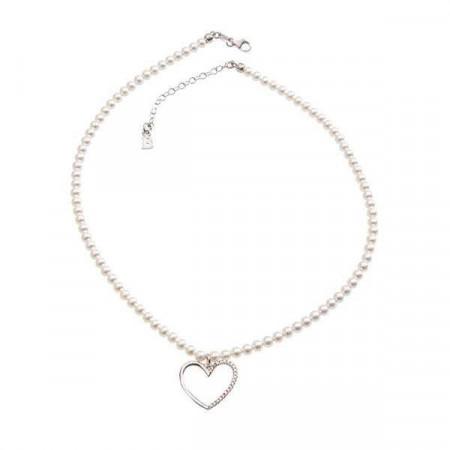 Collana di perle Swarovski, argento e cuore di zirconi