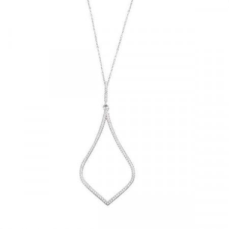 Collana in argento con pendente losangato di zirconi