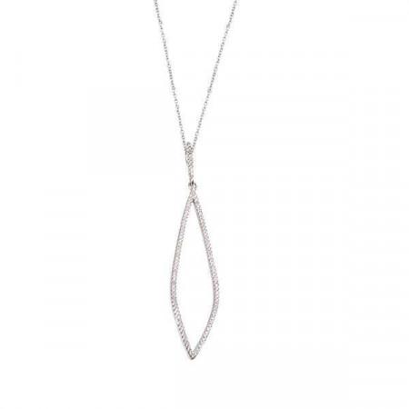 Collana in argento con pendente affusolato di zirconi