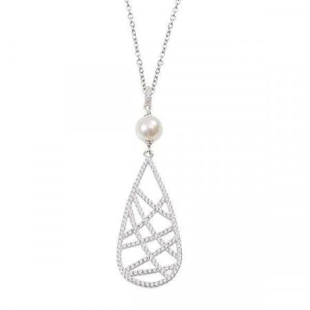 Collana in argento con perla Swarovski e pendente di zirconi