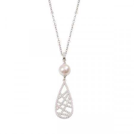 Collana in argento con perla Swarovski e pendente geometrico di zirconi