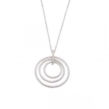 Collana in argento con pende concentrico in pavè di zirconi