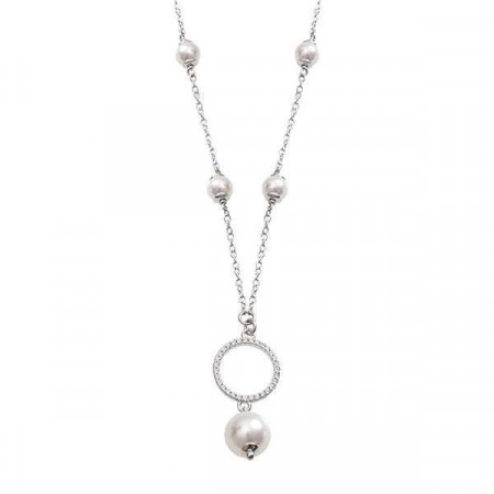 Collana in argento con centrale circolare, zirconi e Swarovski