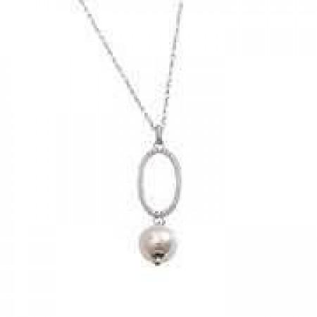 Collana in argento e perle Swarovski, centrale ovale e zirconi
