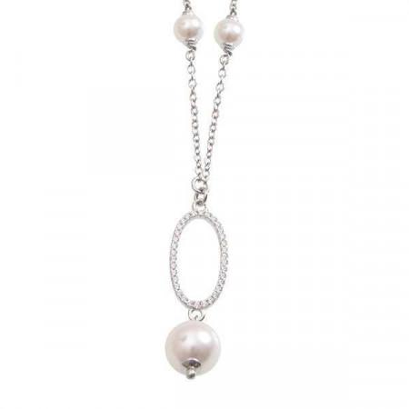 Collana in argento con centrale ovale, perla Swarovski e zirconi