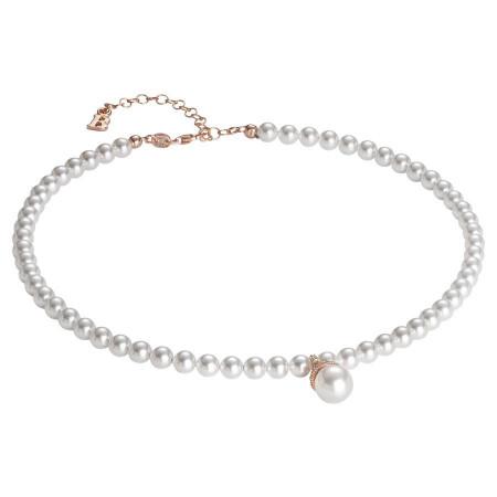 Collana con perla Swarovski centrale, argento rosato e zirconi