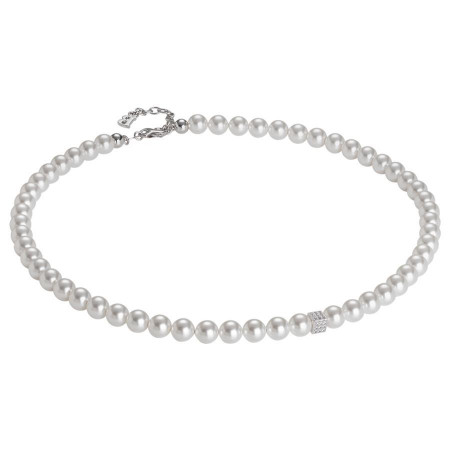 Collana con filo di perle Swarovski e cubetto centrale in zirconi