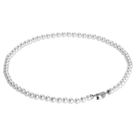 Collana in argento, zirconi e perle Swarovski