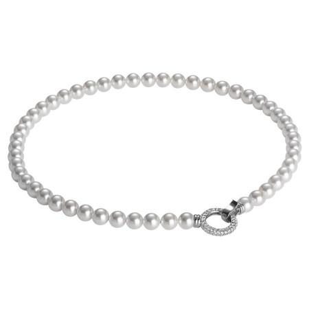 Collana con filo di perle Swarovski e chiusura a scatto in zirconi