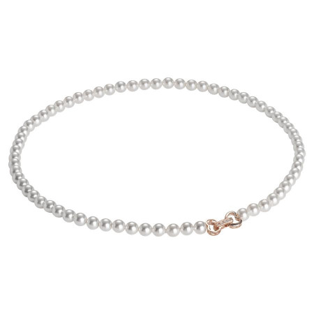 Collana rosata di perle Swarovski con chiusura a cuore e zirconi