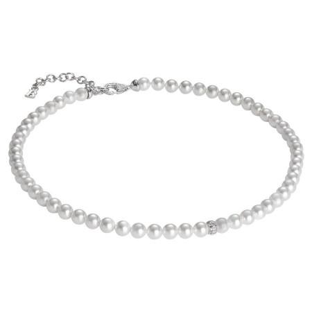 Collana con perle Swarovski e passante centrale in argento e zirconi