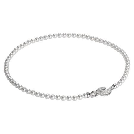 Collana di perle Swarovski con ricciolo di zirconi