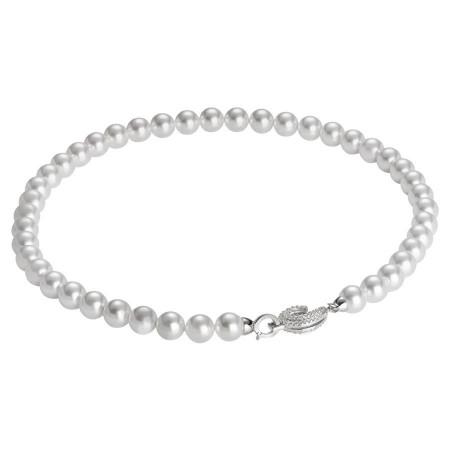 Collana di perle bianche Swarovski con chiusura in argento e zirconi