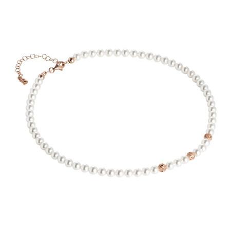 Collana rosata con perle Swarovski e sfere diamantate effetto ondulato