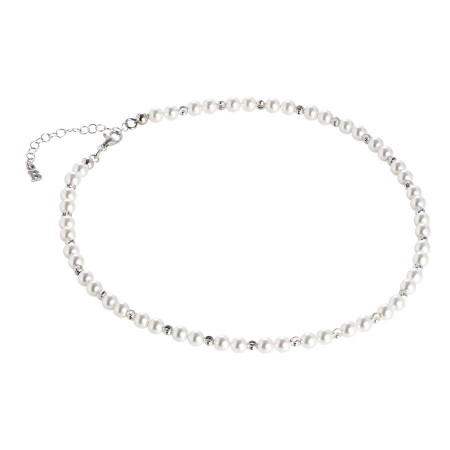 Collana con perle Swarovski alternate a sfere diamantate