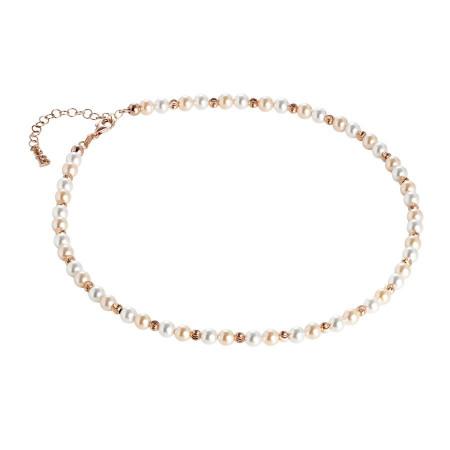 Collana rosata con perle Swarovski alternate a sfere diamantate