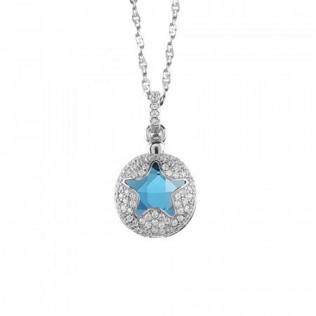Collana con stella di zirconi apribile e cristallo blu