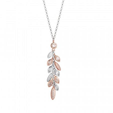 Collana in argento con pendente bicolor a grappolo di zirconi