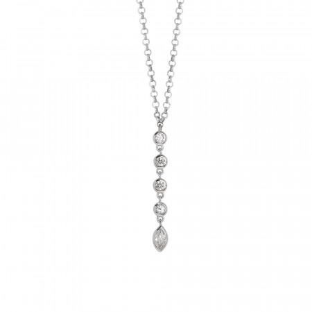 Collana con pendente di zirconi taglio diamante