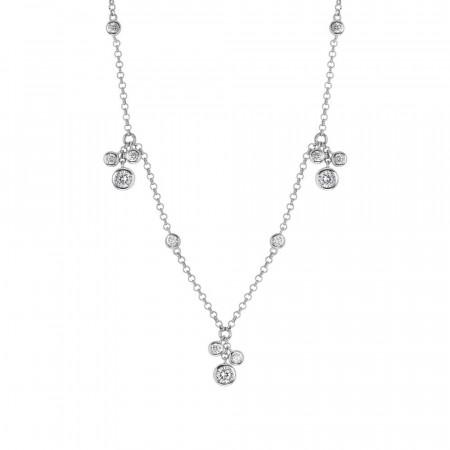 Collana in argento con ciuffetti pendenti di zirconi