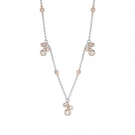 Collana in argento bicolor con ciuffetti pendenti di zirconi