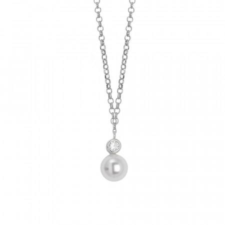 Collana con pendente di zircone e perla Swarovski