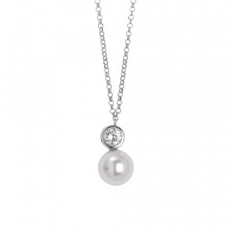 Collana in argento con pendente di zircone taglio diamante e perla Swarovski