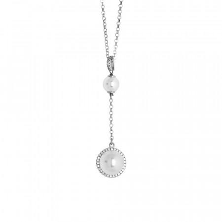 Collana con pendente in perle Swarovski e zirconi