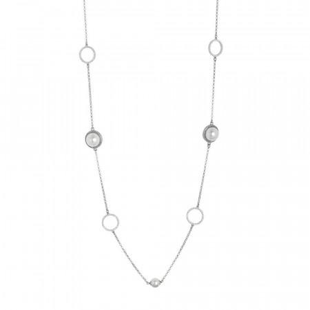 Collana lunga con perle Swarovski e zirconi