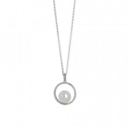 Collana con pendente circolare di zirconi e perla Swarovski