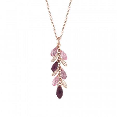 Collana con pendente a ciuffetto di Swarovski dalle sfumature lilla e navette di zirconi