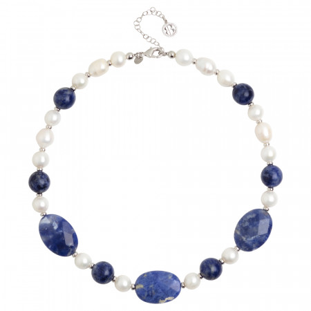 Collana corta con perle naturali e sodalite