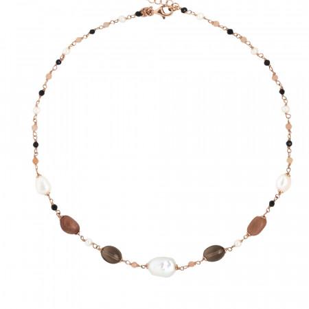 Collana con perle naturali, quarzo fumè, pietra di luna e spinello