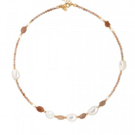 Collana con perle naturali e pietra di luna