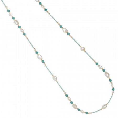 Collana lunga con perle naturali, amazzonite e apatite